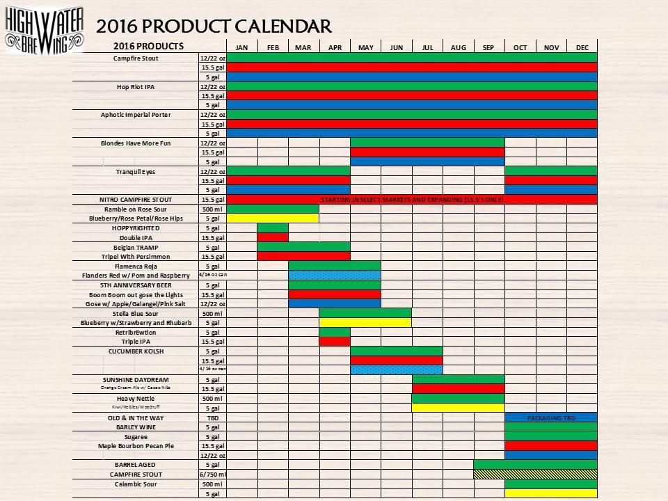 2016 Highwater Beer Release Calendar