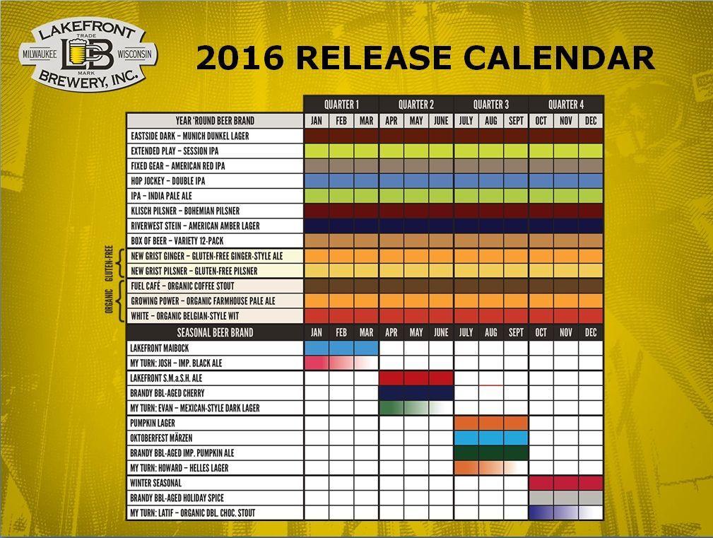 2016 Lakefront Beer Release Calendar