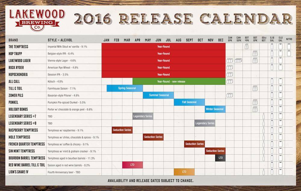 2016 Lakewood BrewingBeer Release Calendar