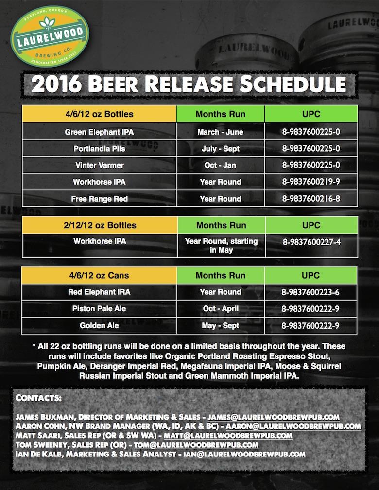 2016 Laurelwood Beer Release Schedule