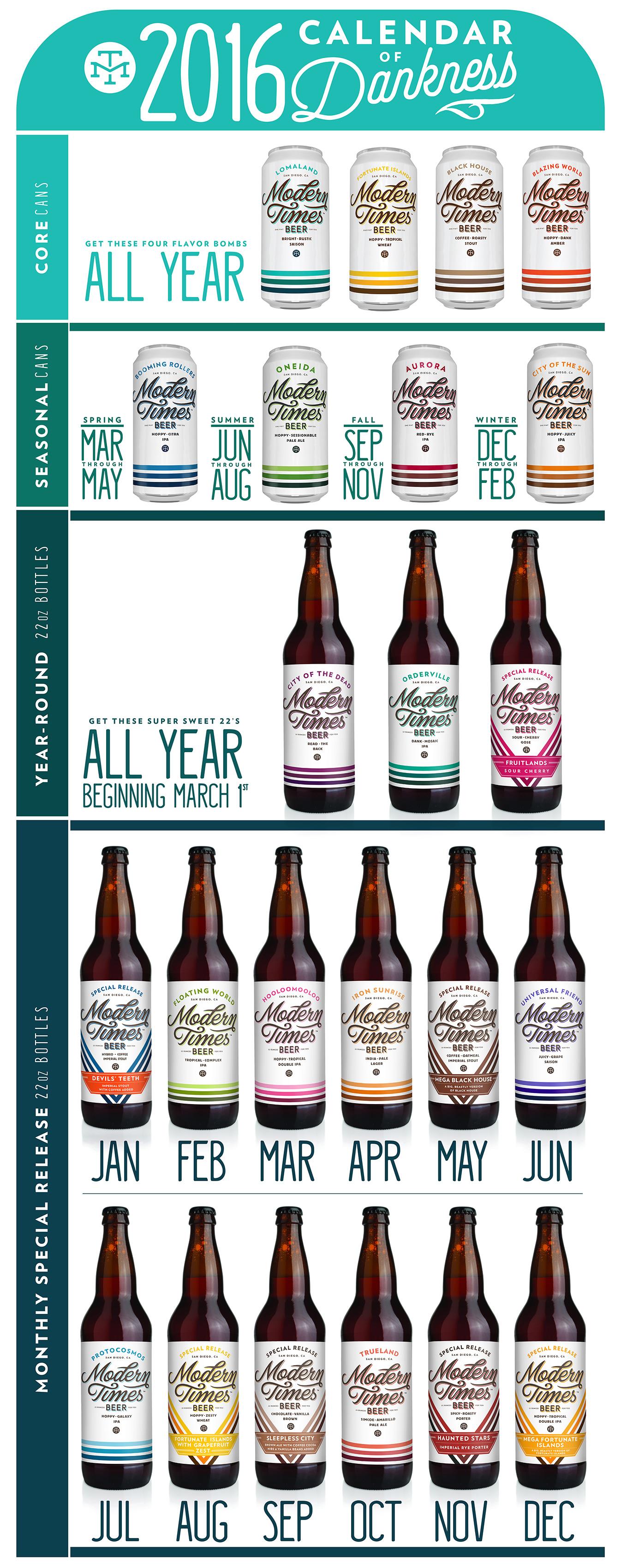 2016 Modern Times Brewing Release Calendar