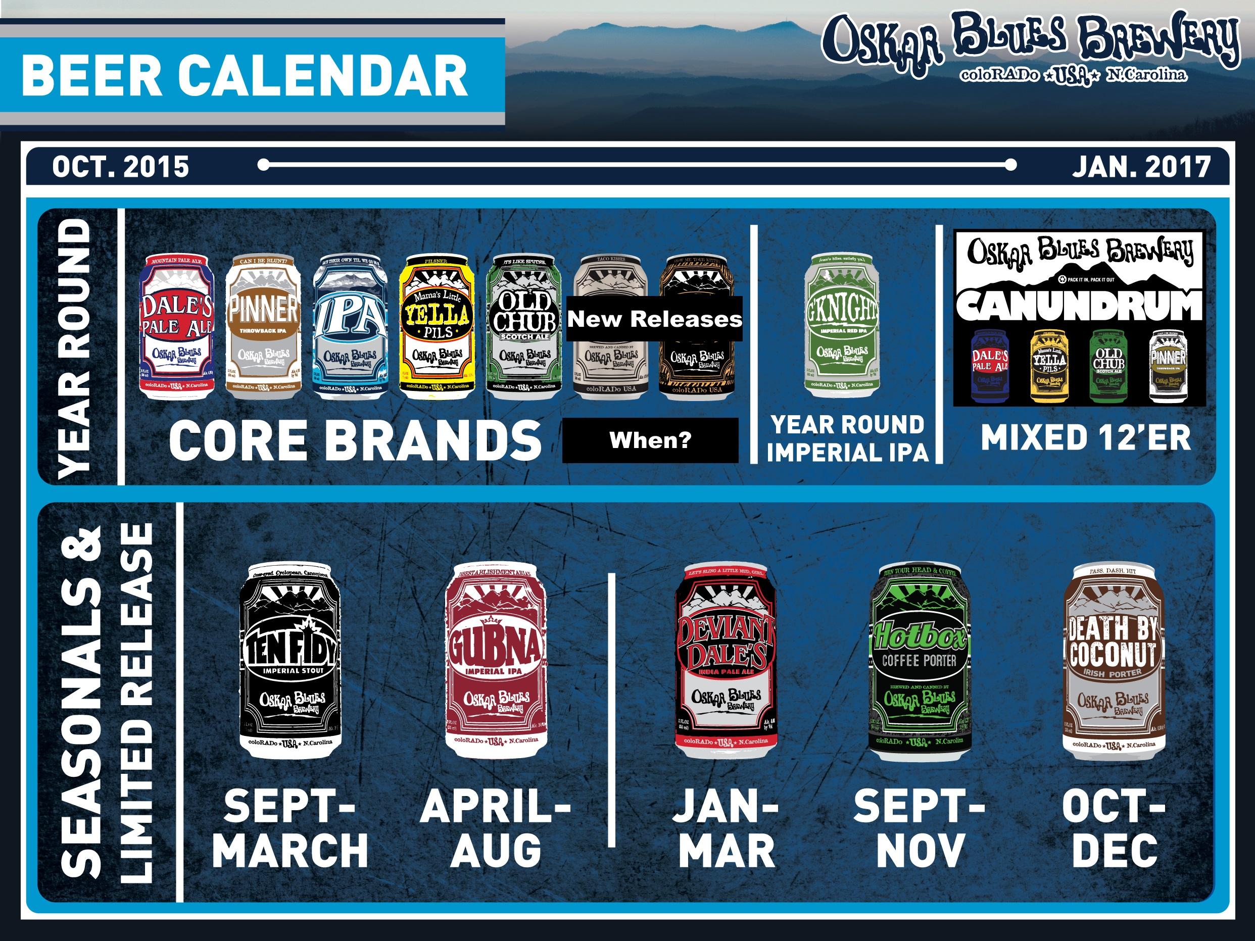2016 Oskar Blues Release Calendar