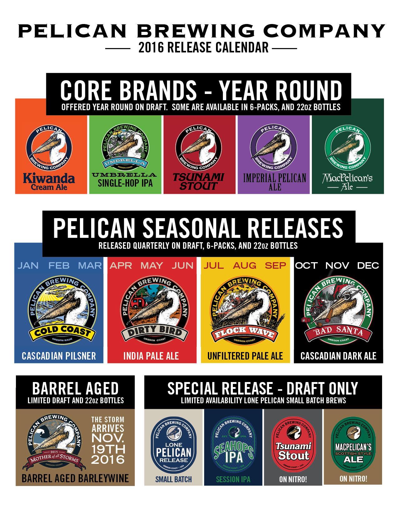2016 Pelican Brewing Beer Release Calendar