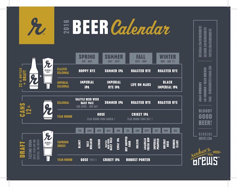 2016 Reuben's Brews Craft Beer Release Calendar