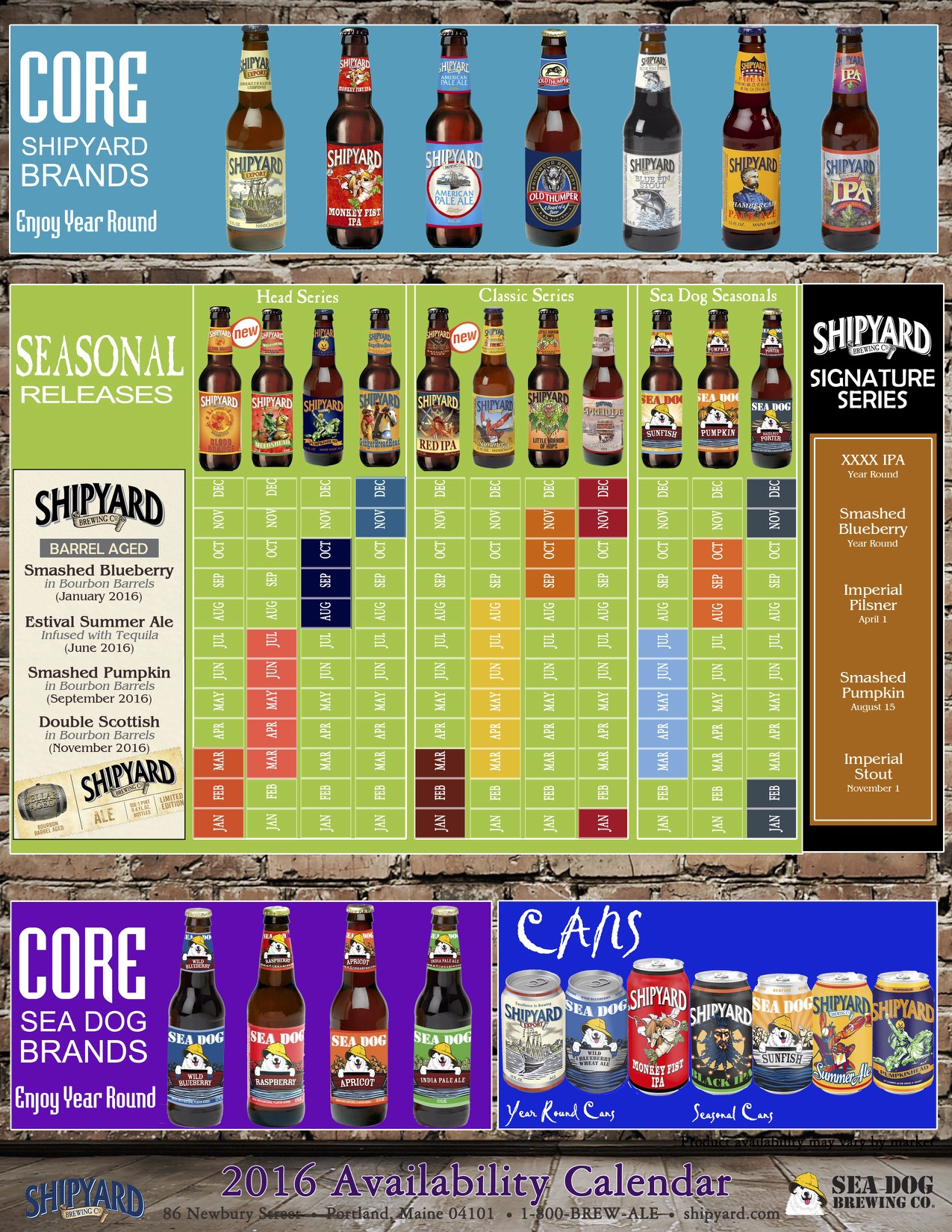 2016 Shipyard Beer Release Calendar