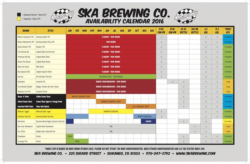 2016 Ska Brewing Beer Release Calendar