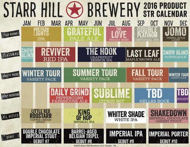 2016 Starr Hll Beer Release Calendar