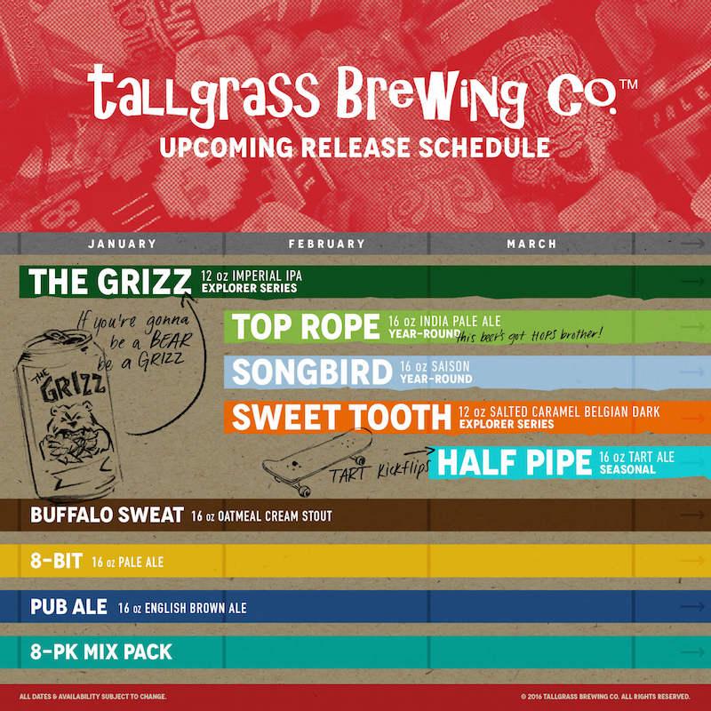 2016 Tallgrass Brewing Beer Release Calendar