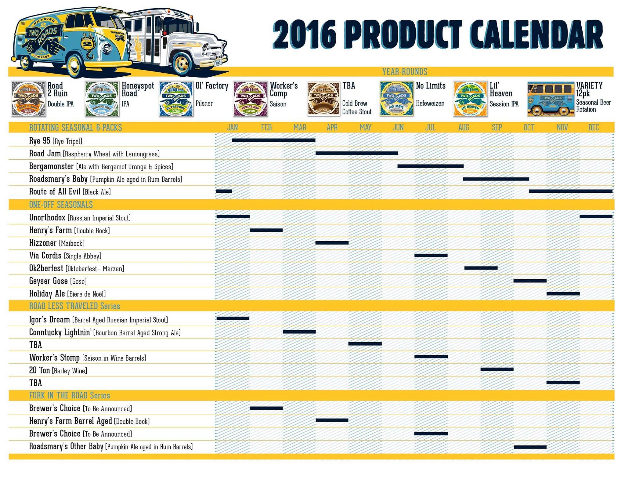 2016 Two Roads Beer Release Calendar