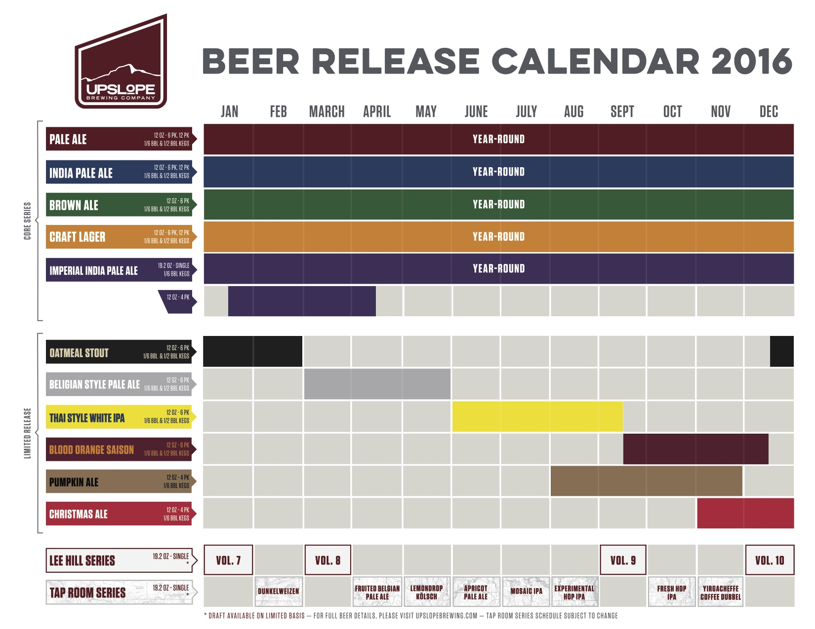 2016 Upslope Brewing FINAL Beer Release Calendar