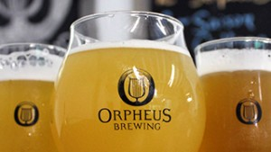 Orpheus glassware inside the taproom. (Jess Baker)