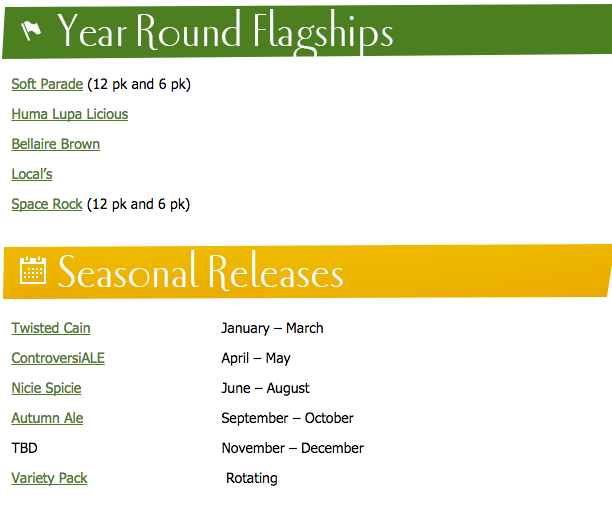 2016 Short's Brewing Beer Release Calendar