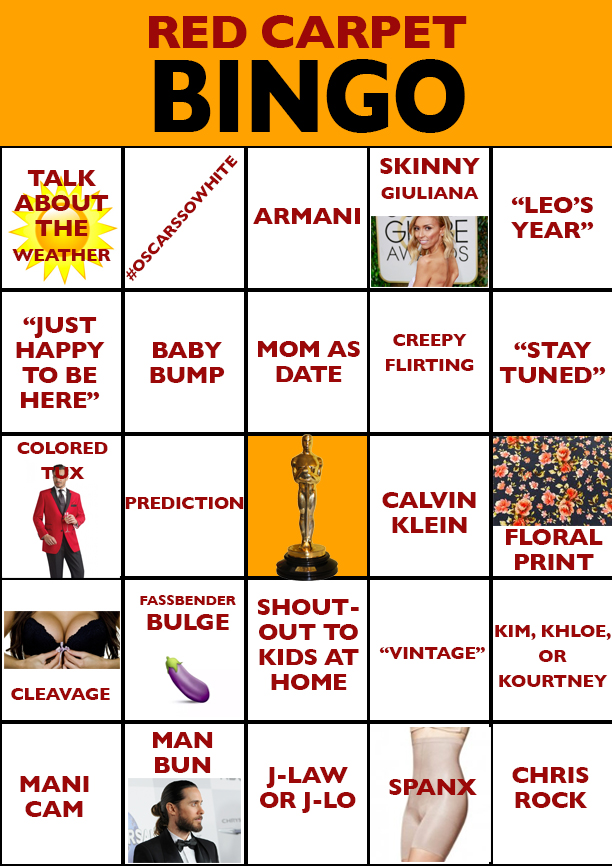 2016 Academy Awards Bingo Card
