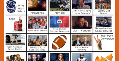 Super Bowl 50 Bingo Board