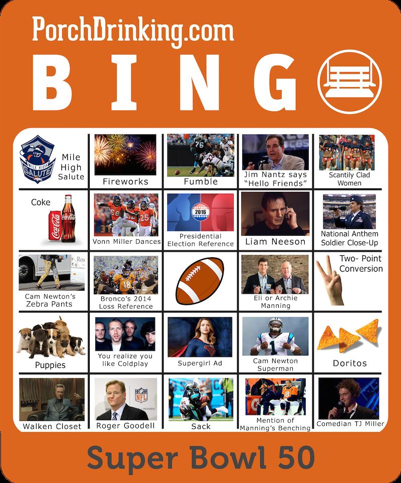 Super Bowl 50 Bingo Boards