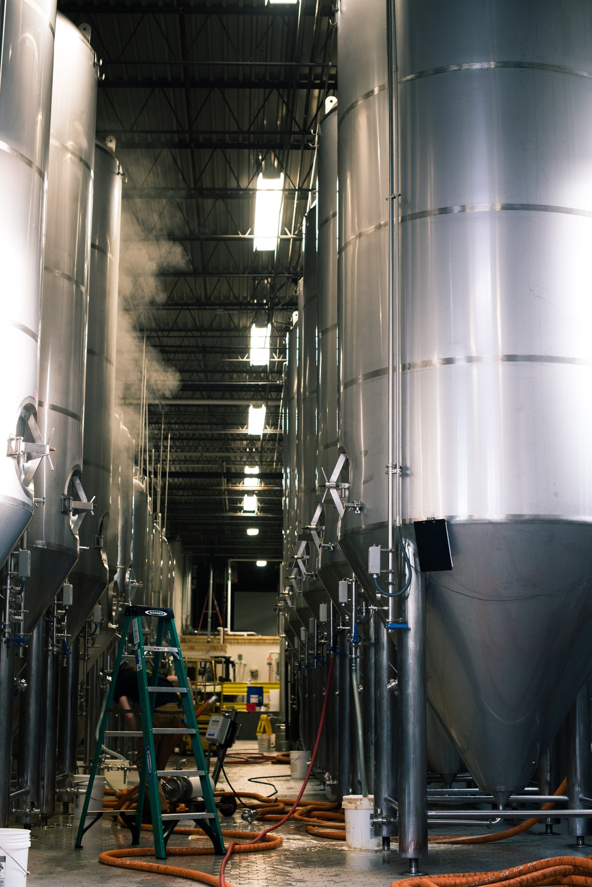 The tanks inside Half Acre's new facility. Photo by Eric Dirksen.