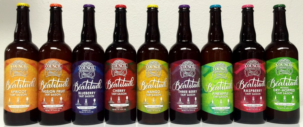 A line-up of the Beatitude series of Saisons.