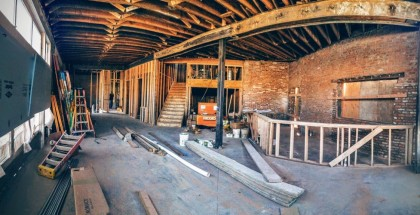 Construction inside the new Briar Common Brewery and Eatery