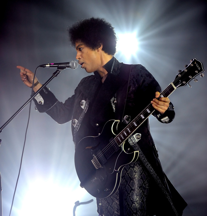 Prince and 3RDEYEGIRL perform at Vogue Theatre on April 15, 2013 in Vancouver, Canada. (Photo by Kevin Mazur/WireImage)