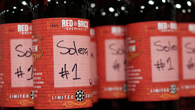 The limited release of Red Brick Brewing's first American Wild Ale, Solera No. 1. (Chris Powell/PorchDrinking.com)