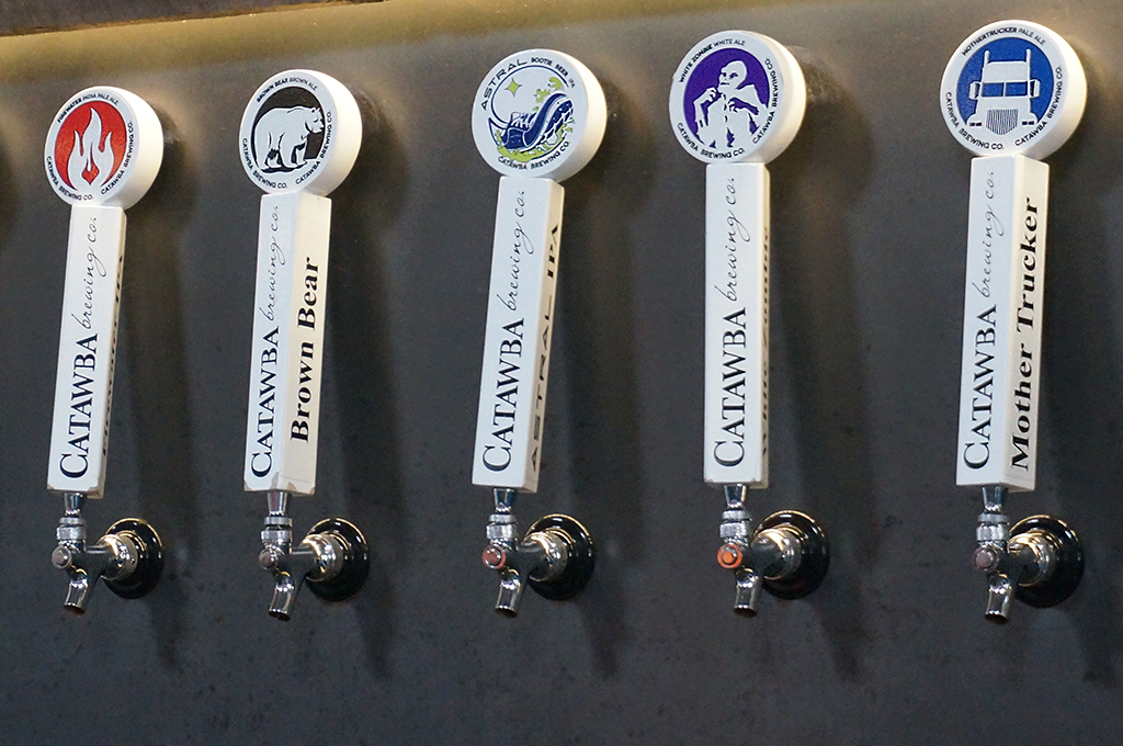 Beer taps at Catawba Brewing Co.