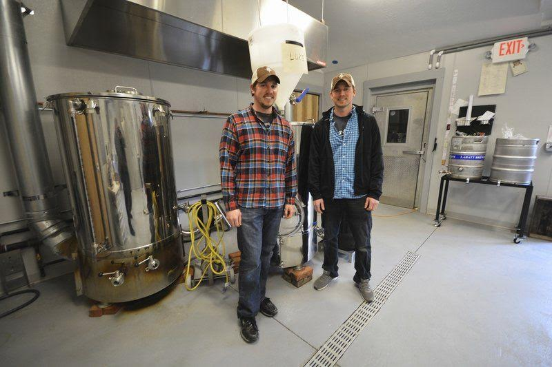 Steve (left) and Drew (right) inside Hop Lot Brewing Co.