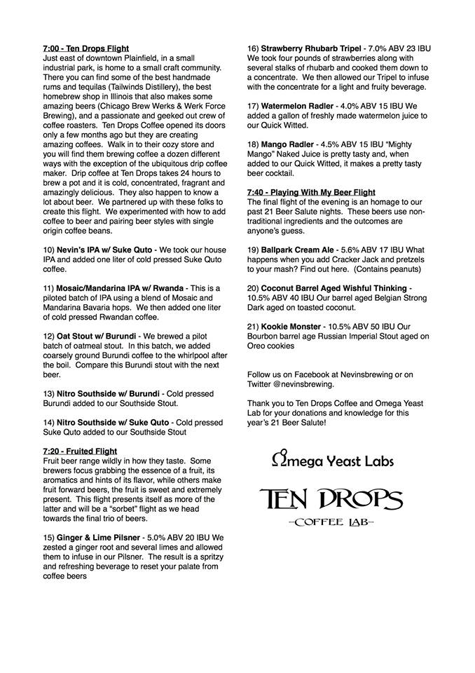 Nevin's Brewing Company 21 Beer Salute Menu Page 2