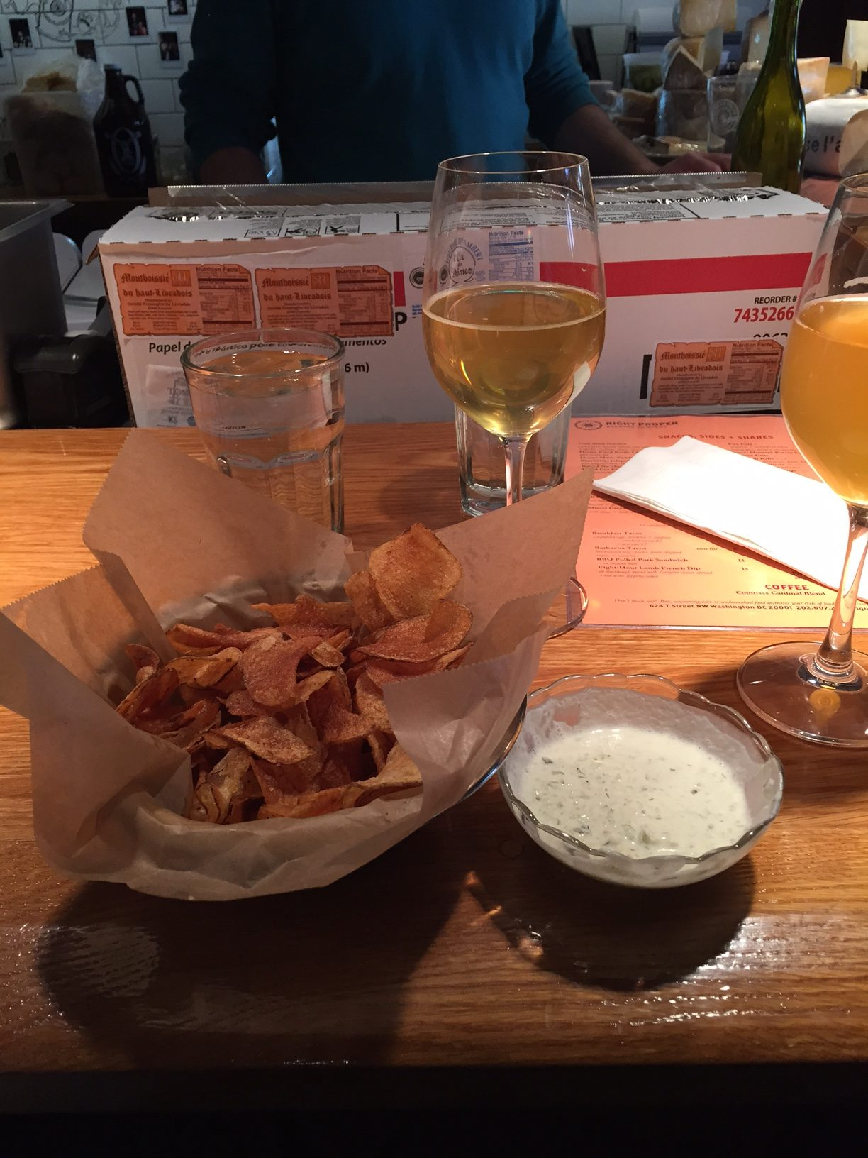 Chips and dips at Right Proper. And beer.