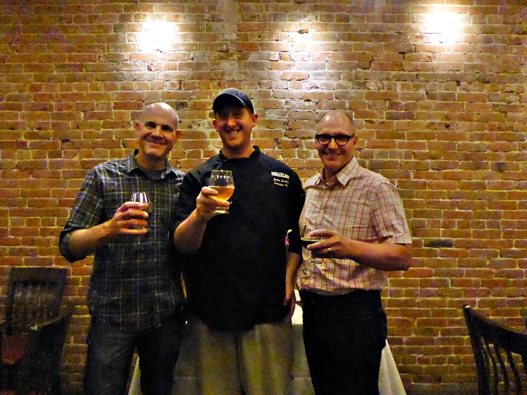 Left to right: Jeff Albarella (Jessup Farm), Justin Burdick (Mainline Executive Chef) and Gordon Schuck (Funkwerks).