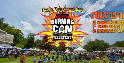Cover photo for Oskar Blue's Burning Can Festival in North Carolina with festival and patrons behind logo.