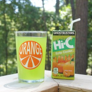 Juice box and glass of Hi-C Ecto Cooler