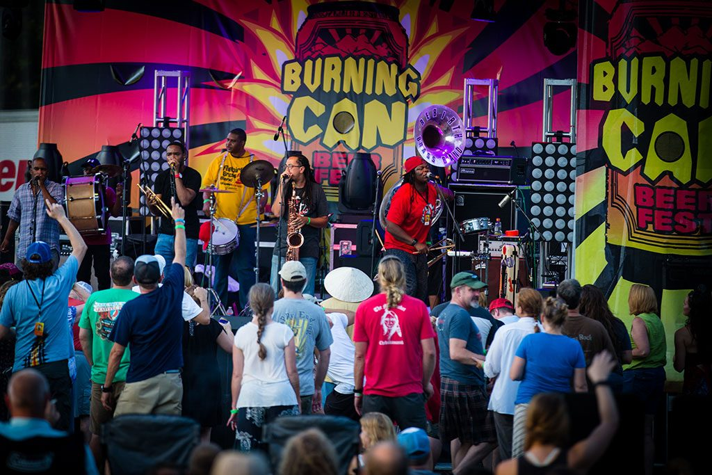 Oskar Blues Burning Can NC band on stage