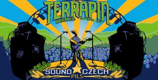 Terrapin Sound Czech Pilsner label art of turtle rocking it out on stage between two giant speakers.