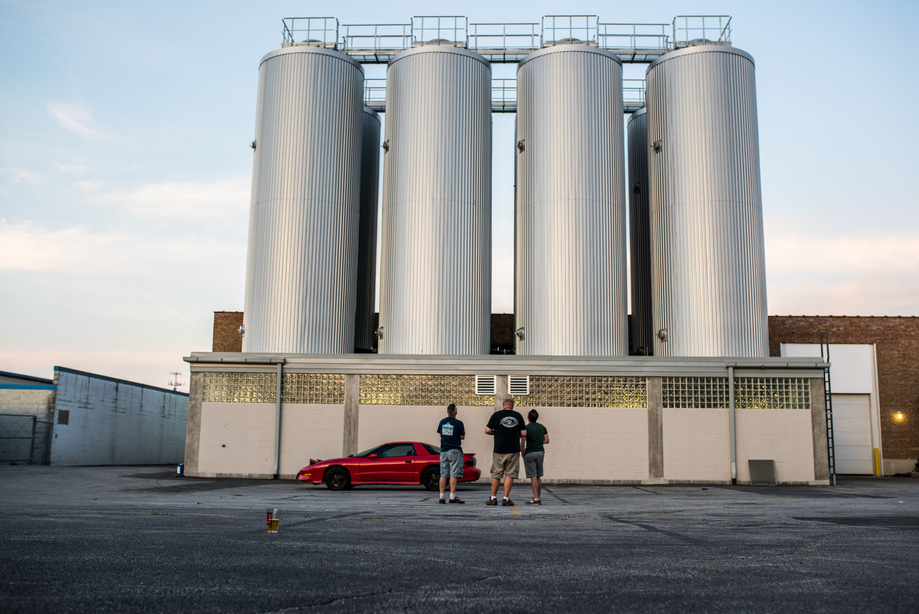 Each of these tanks can hold enough beer to fill about 215,000 cans of beer. Photo credit: Eric Dirksen.