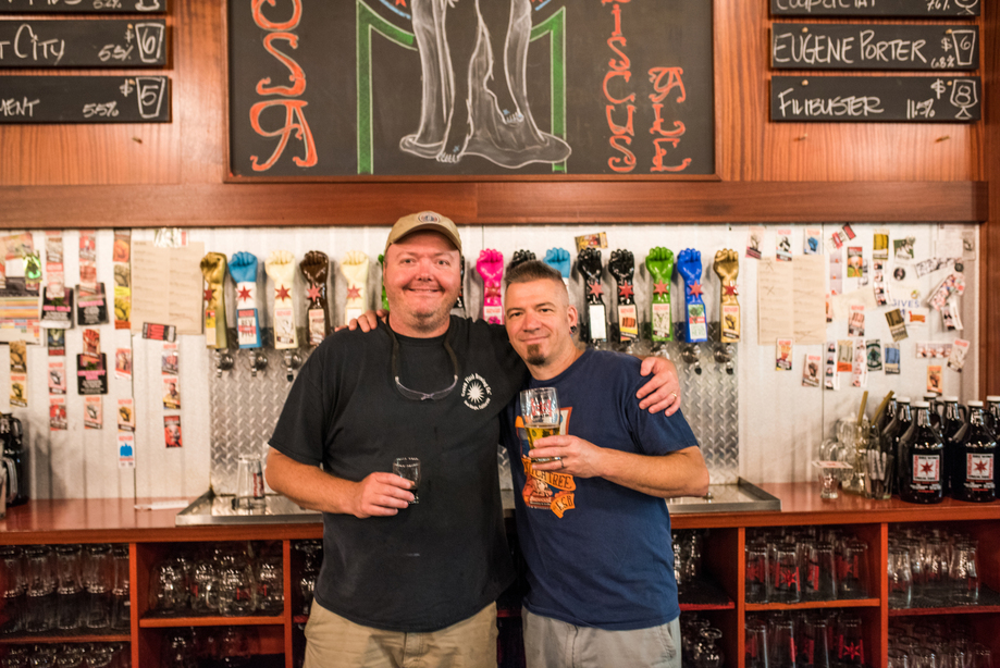 Jim (left) and Wil (right) are the masterminds behind Revolution's beers. Photo credit: Eric Dirksen.
