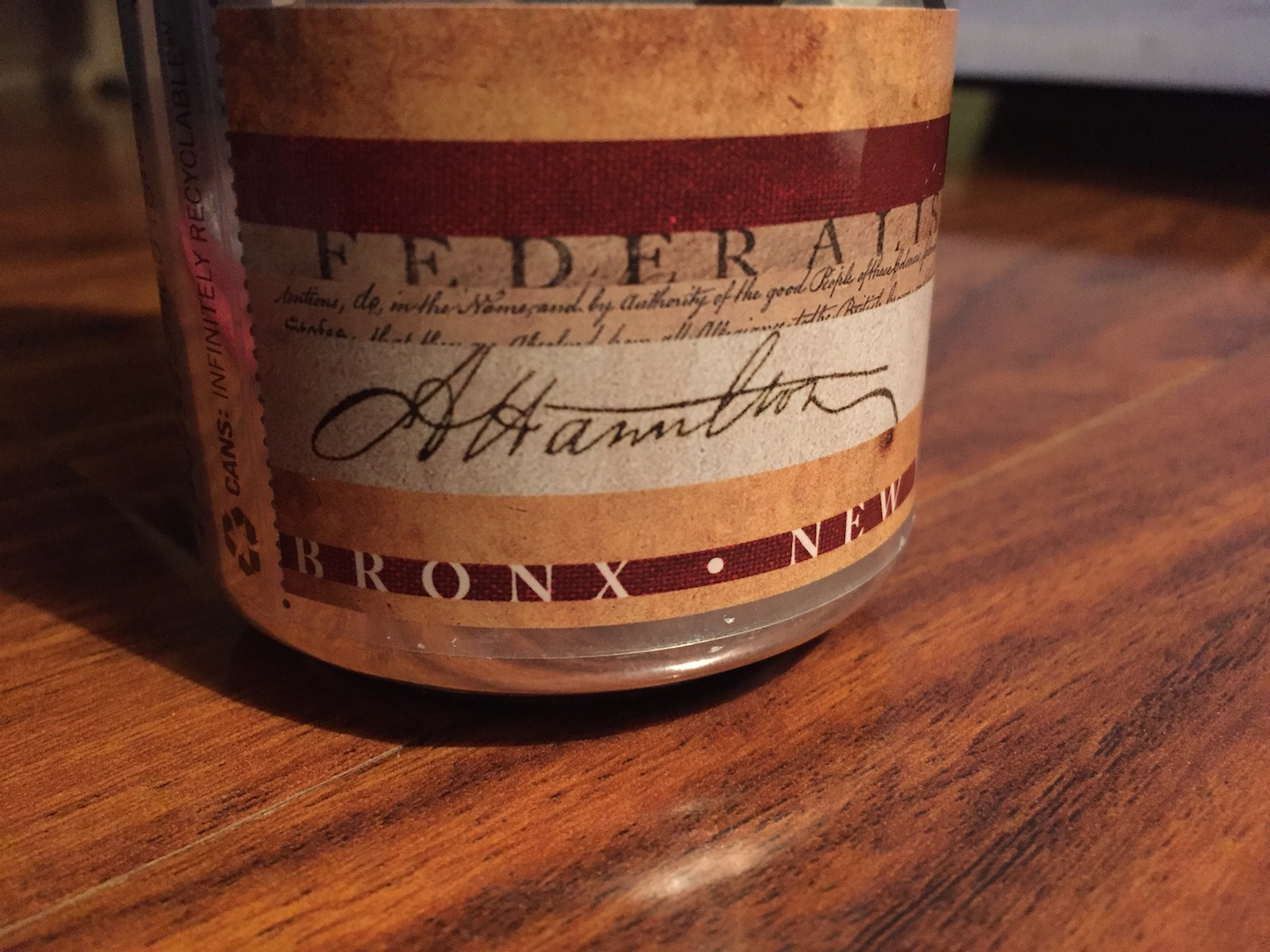 "This is the ""signature"" of Alexander Hamilton. Never judge a beer by its can, but the attention to detail bodes well, right?"