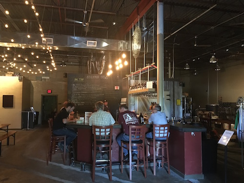 The taproom at Stickman Brews is a comfortable place to enjoy a few craft beers. (photo by Dan Bortz)