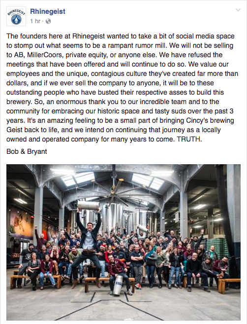Rhinegeist remains independent
