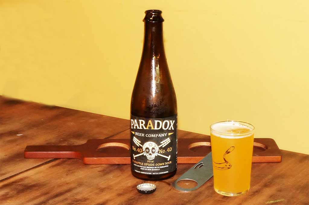 Paradox Beer Company Skully Barrel No. 40 Pineapple Upside-Down Sour Golden Ale aged in rum barrels