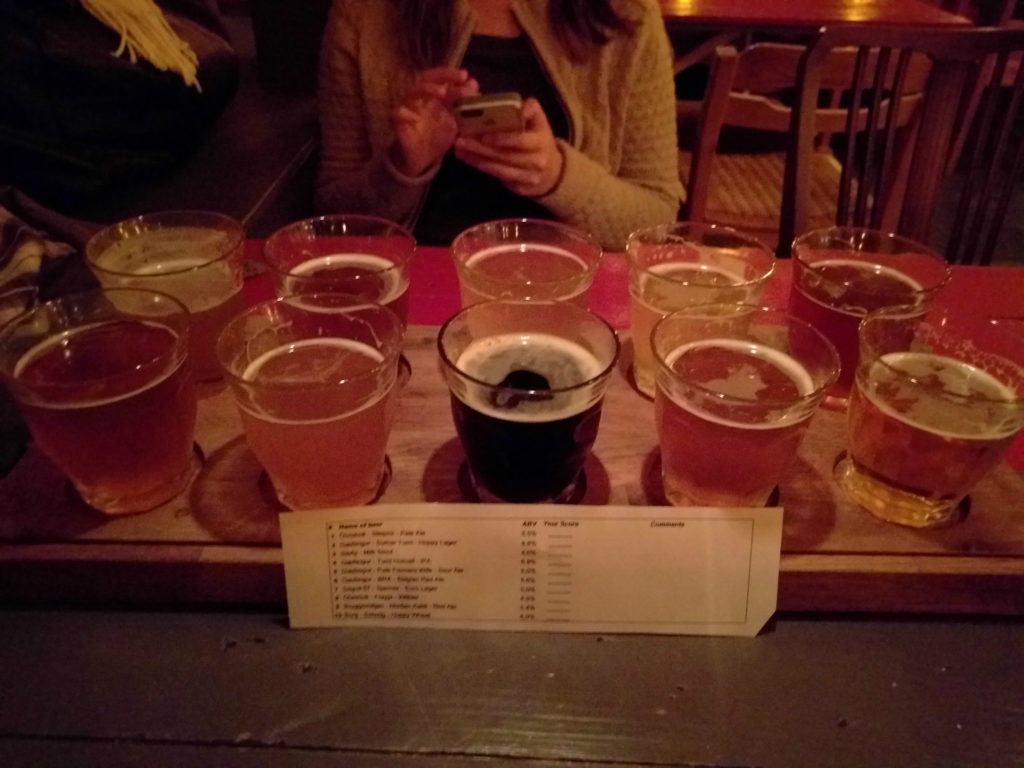 10-beer flight at Microbar Iceland