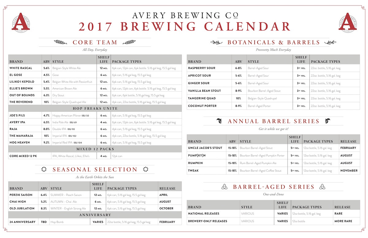 2017 Avery Brewing Beer Release Calendar