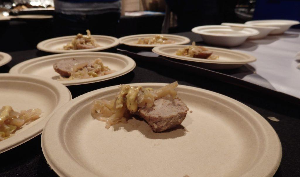 Wit's End Brewery and Blueprint Bar's pork sausage, berliner weisse sauerkraut and mustard