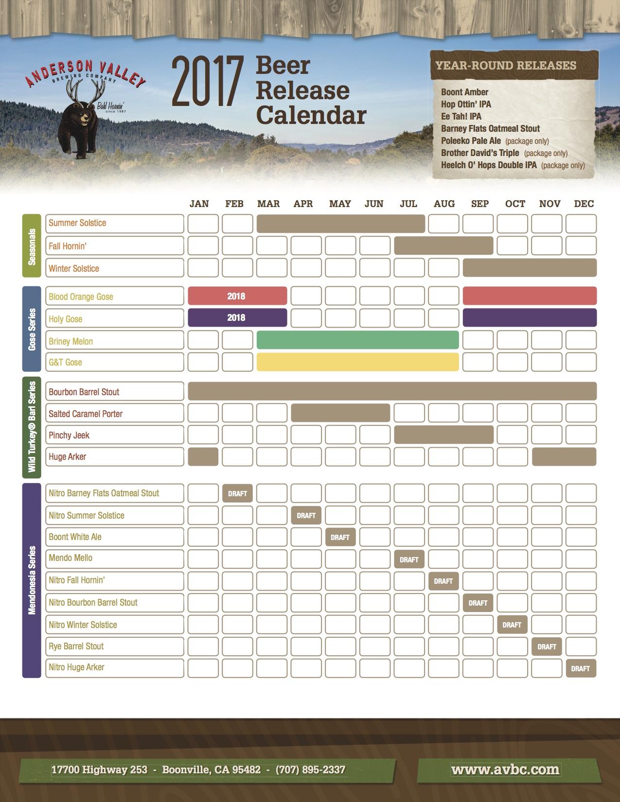 2017 Anderson Valley Beer Release Calendar