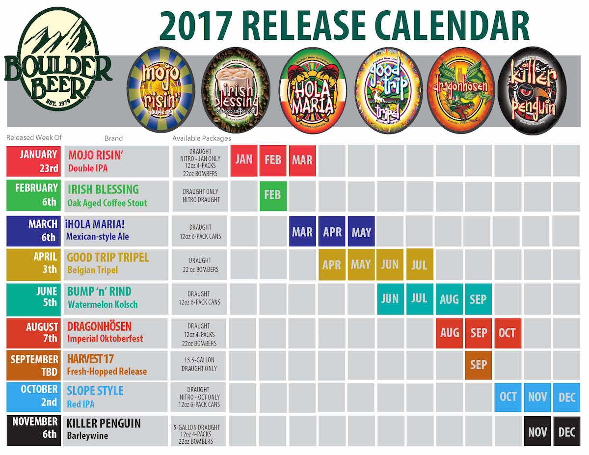 2017 Boulder Beer Release Calendar