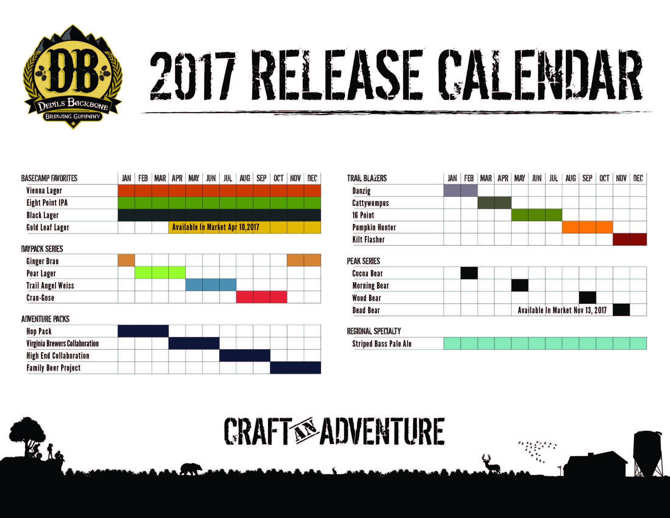 2017 Devils Backbone Beer Release Calendar