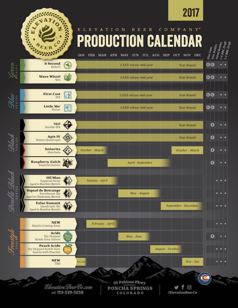 2017 Elevation Beer Release Calendar