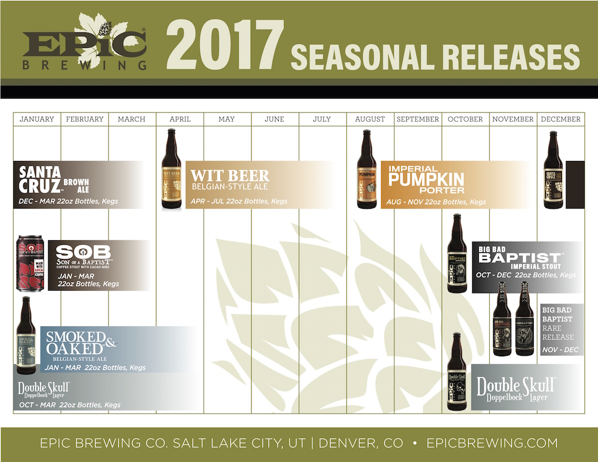 2017 Epic Brewing Beer Release Calendar Seasonal