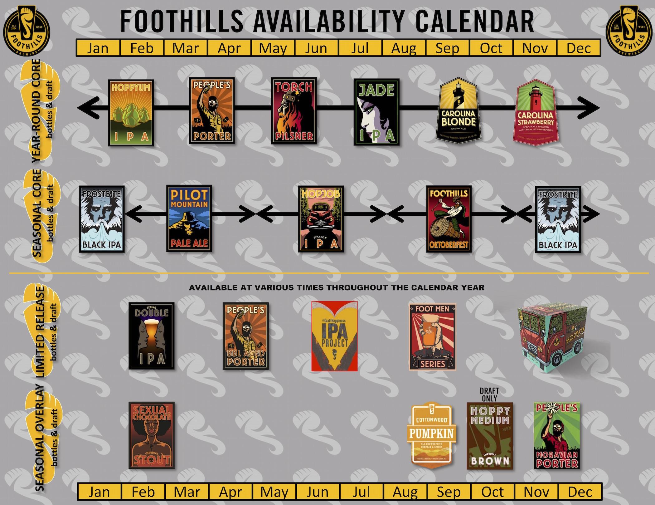 2017 Foothills Beer Release Calendar