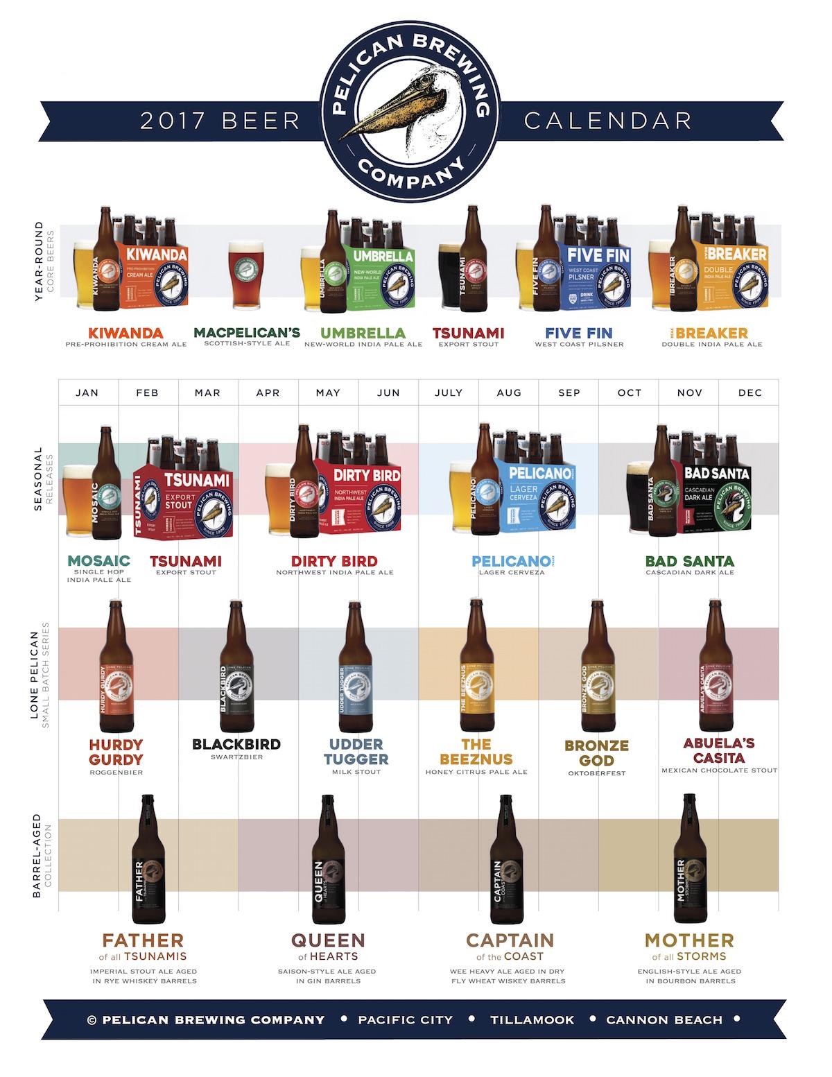 2017 Pelican Brewing Beer Release Calendar
