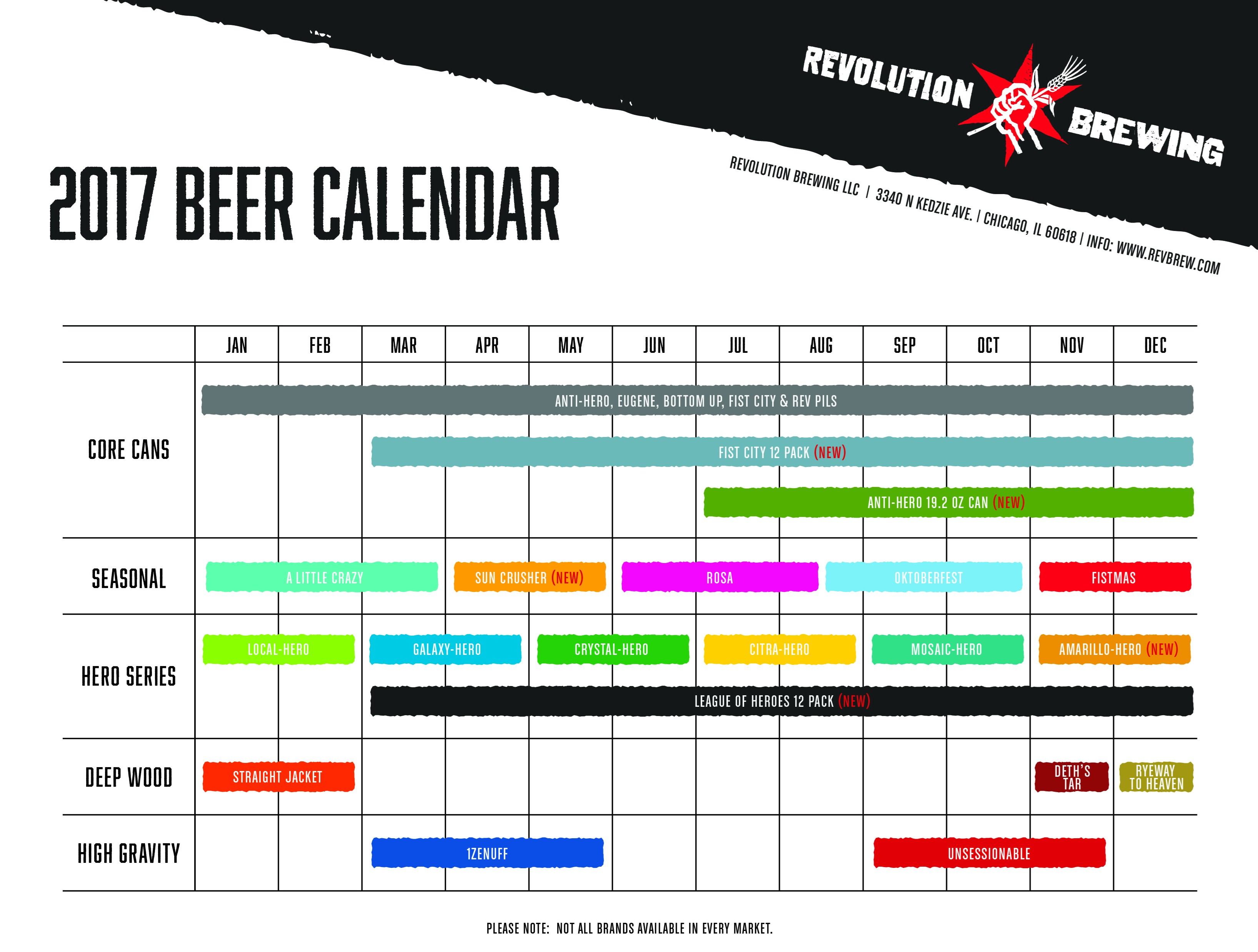 Revolution Brewing Beer Release Calendar 2017